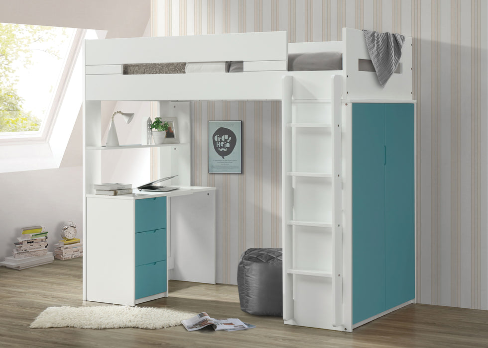 Nerice White & Teal Loft Bed