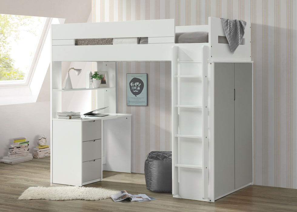 Nerice White & Gray Loft Bed