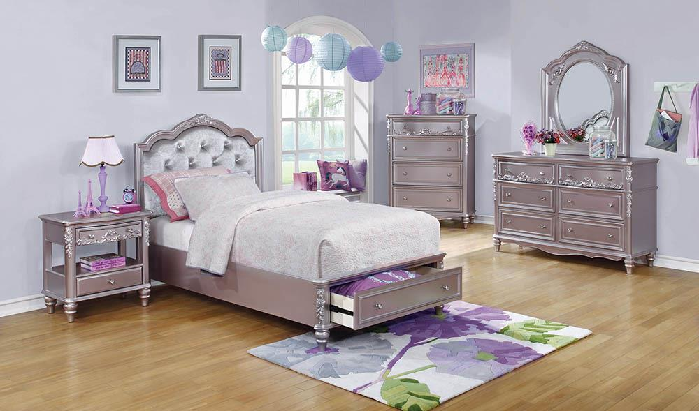 Caroline Metallic Lilac Twin Storage Bed image