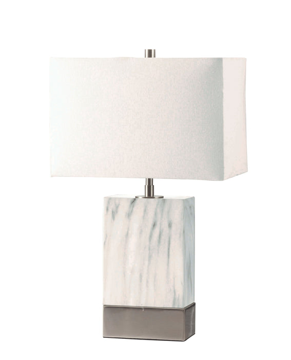 Libe White & Brushed Nickel Table Lamp