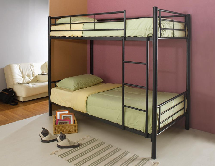 Denley Black Metal Twin-Over-Twin Bunk Bed image
