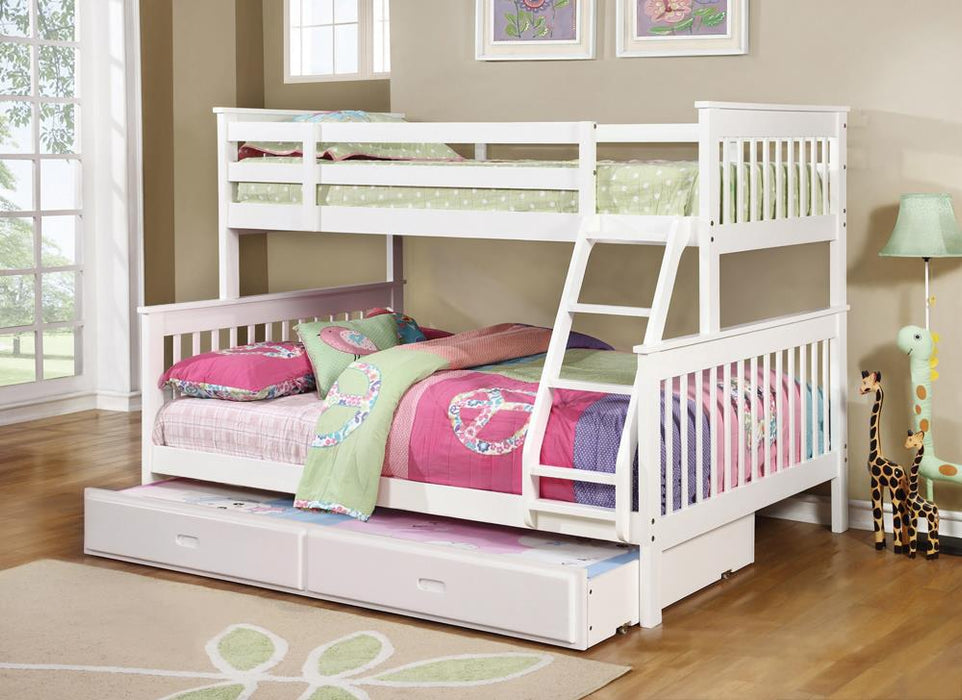 Chapman Transitional White Twin-over-Full Bunk Bed image