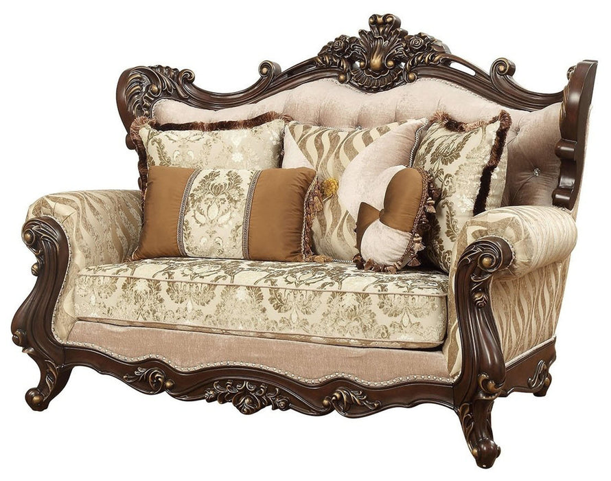 Acme Furniture Shalisa Loveseat with 5 Pillows in Walnut 51051 image