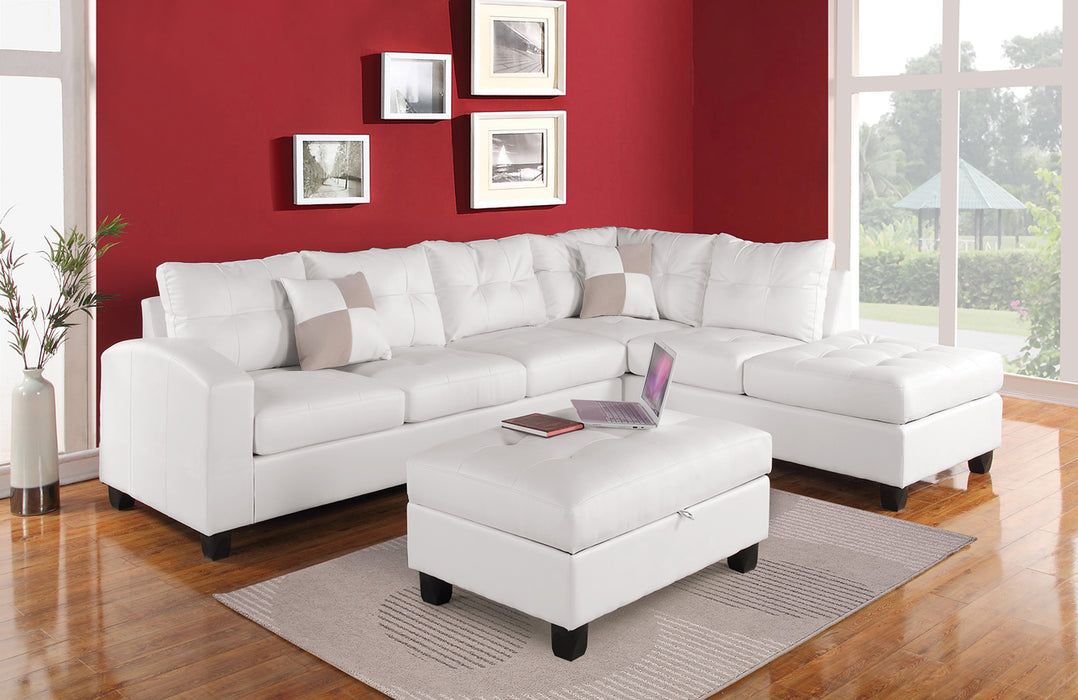 Kiva White Bonded Leather Match Sectional Sofa w/2 Pillows
