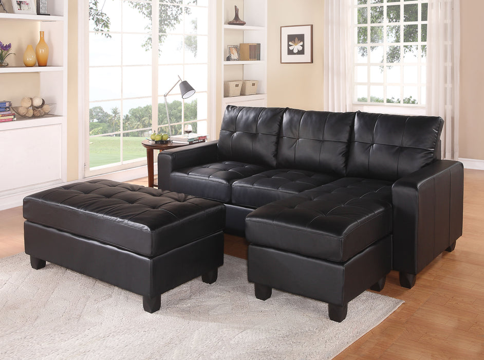 Lyssa Black Bonded Leather Match Sectional Sofa & Ottoman