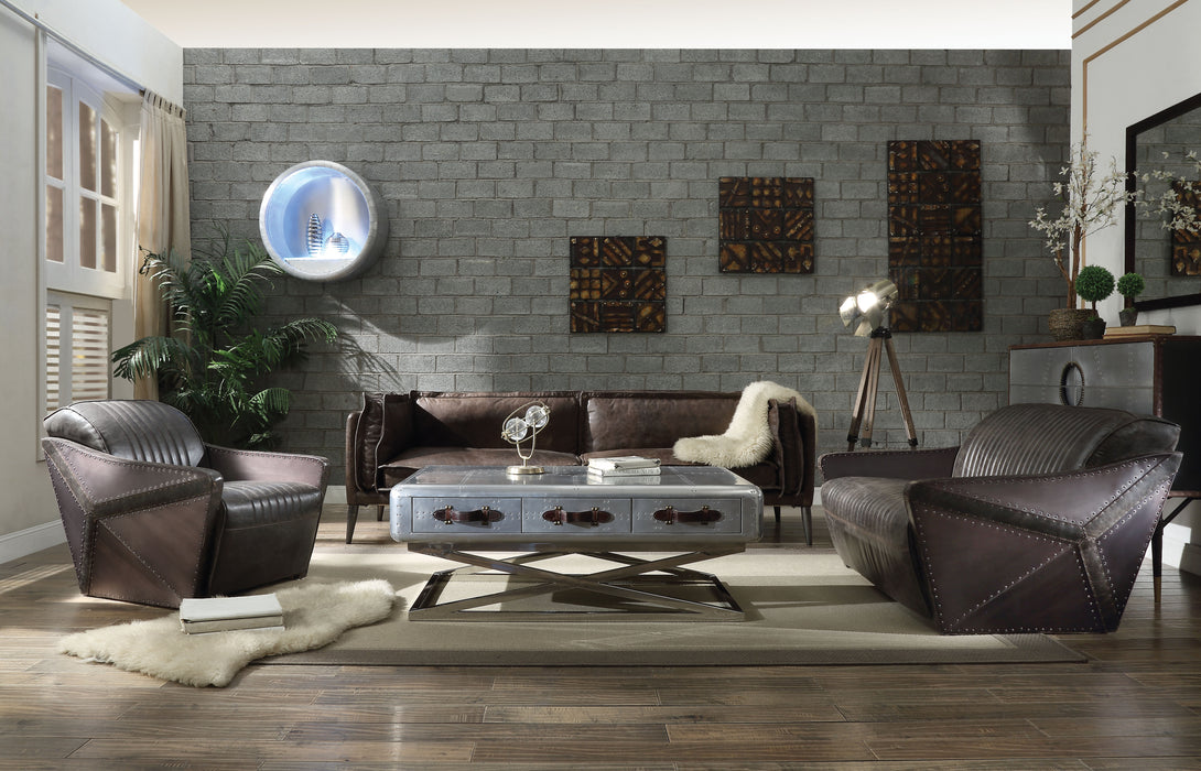 Porchester Distress Chocolate Top Grain Leather Sofa