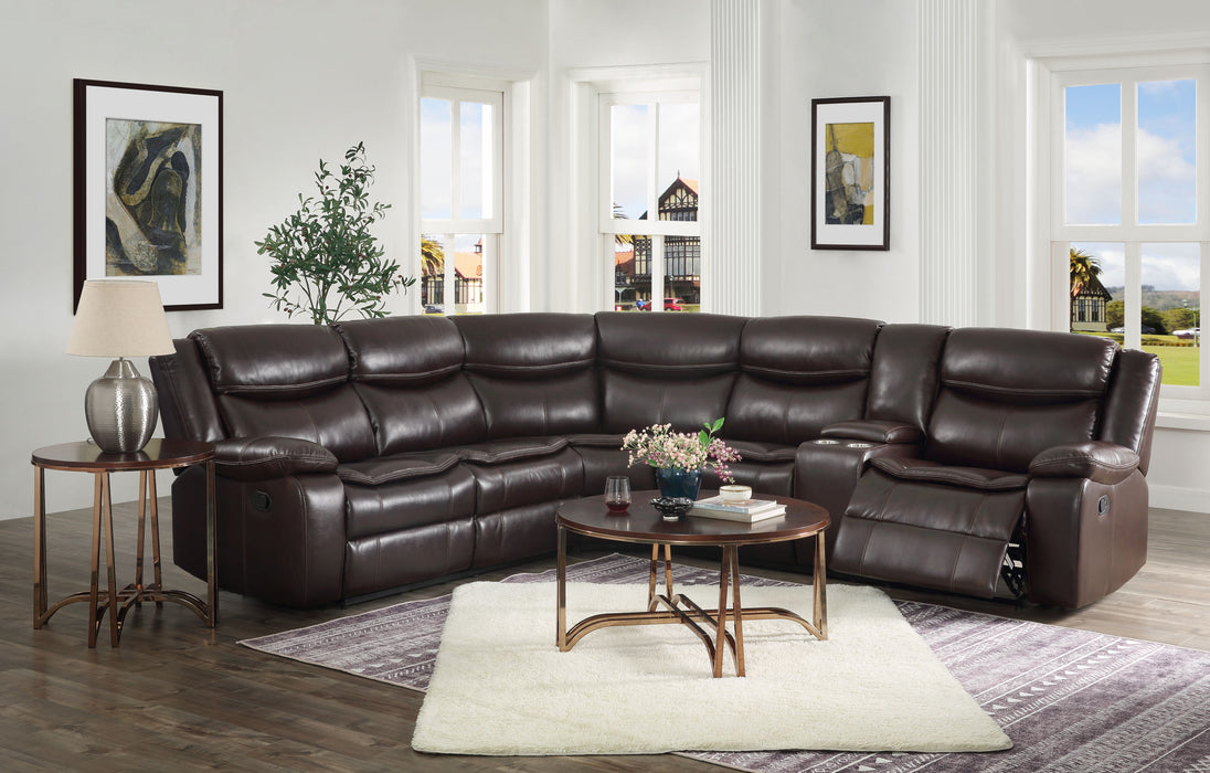 Tavin Espresso Leather-Aire Match Sectional Sofa (Motion)