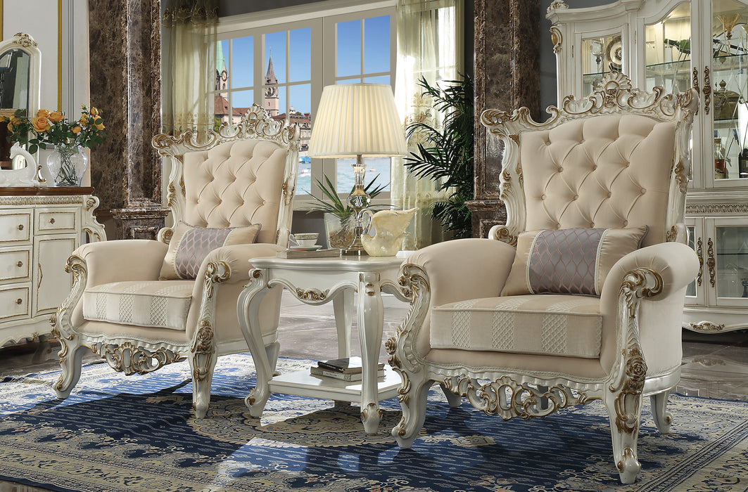 Picardy II Fabric & Antique Pearl Accent Chair & Pillow