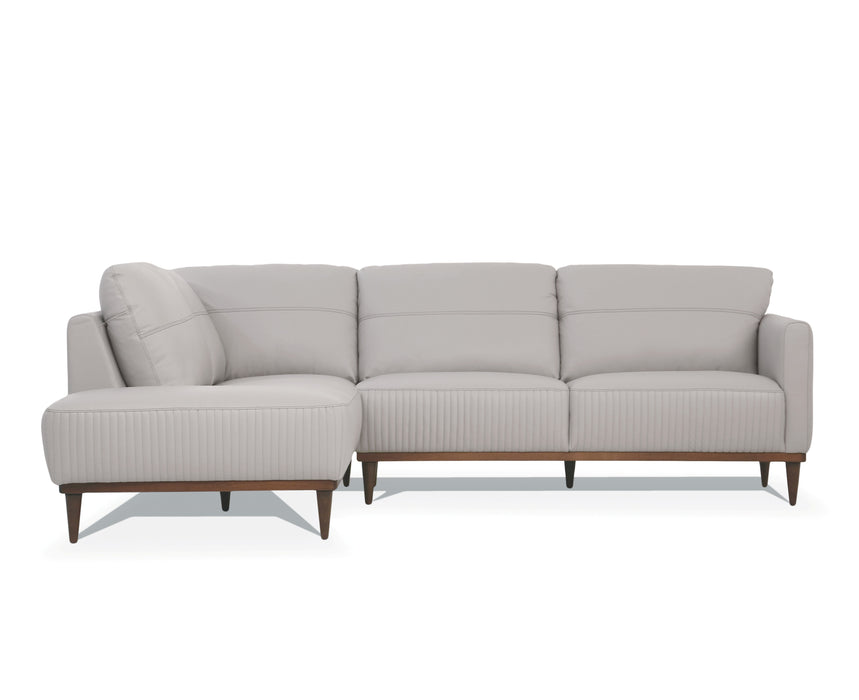 Tampa Pearl Gray Leather Sectional Sofa
