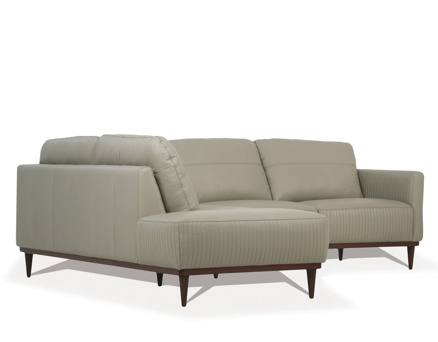 Tampa Airy Green Leather Sectional Sofa