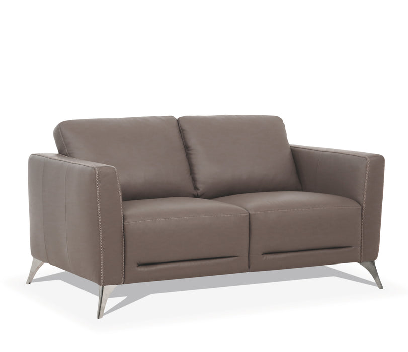 Malaga Taupe Leather Loveseat