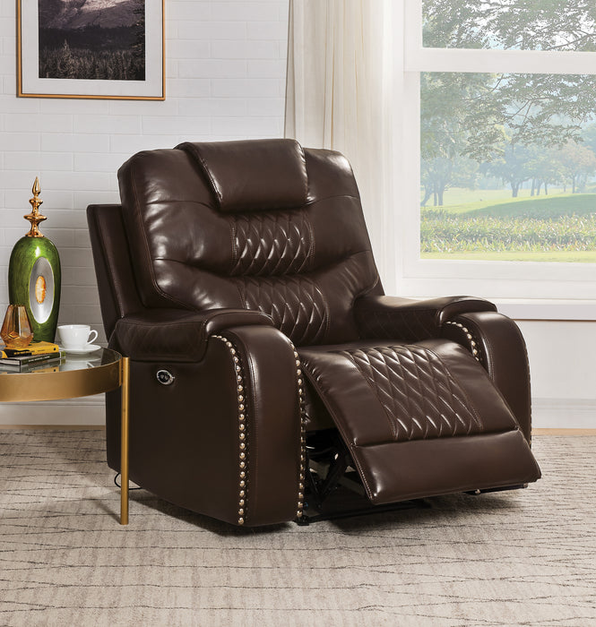 Braylon Brown PU Recliner (Power Motion)