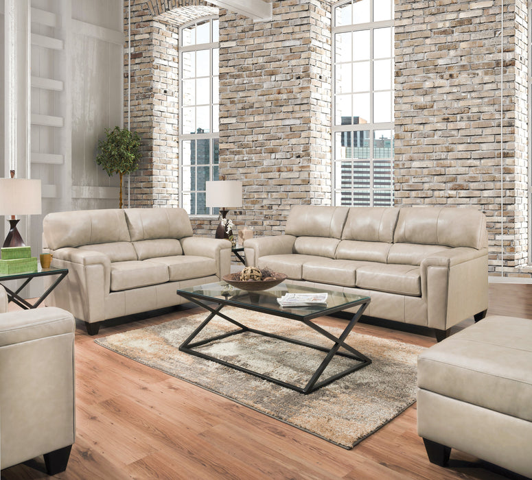 Phygia Tan Top Grain Leather Match Sofa