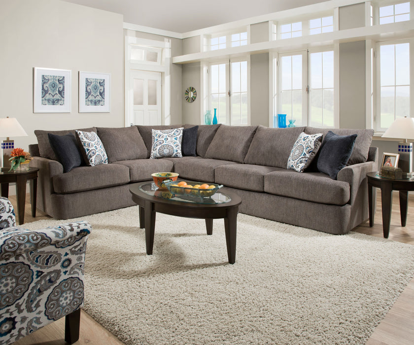 Firminus 2-Tone Brown Chenille Sectional Sofa (w/6 Pillows)