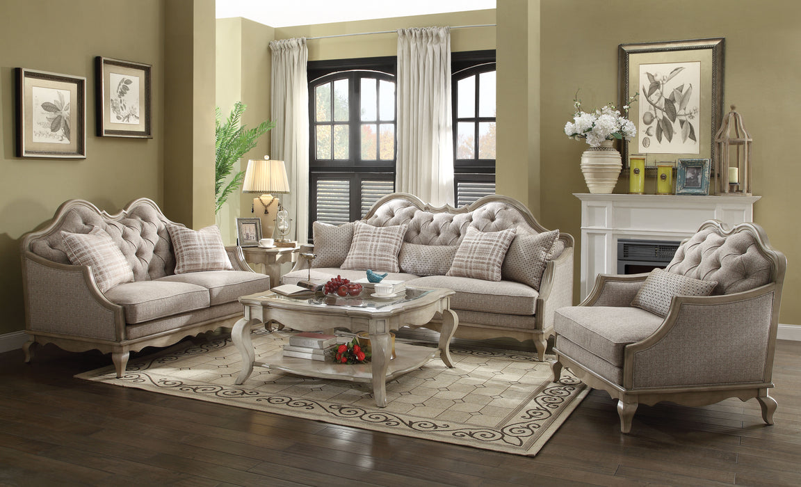 Chelmsford Beige Fabric & Antique Taupe Sofa w/5 Pillows