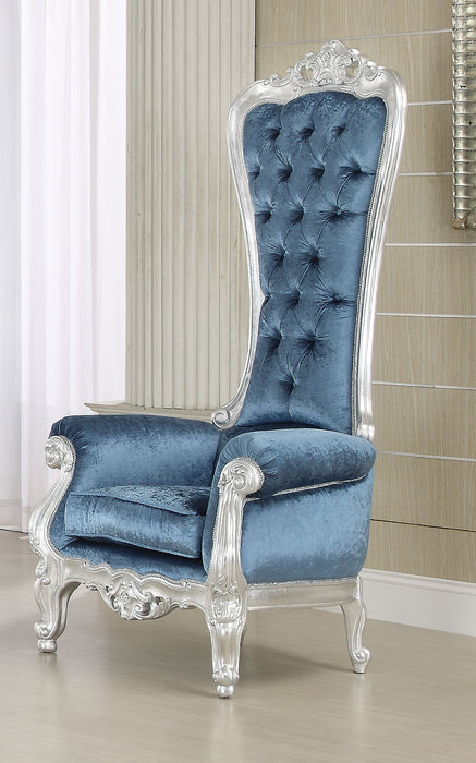 Raven Silver Frame & Blue Fabric Accent Chair