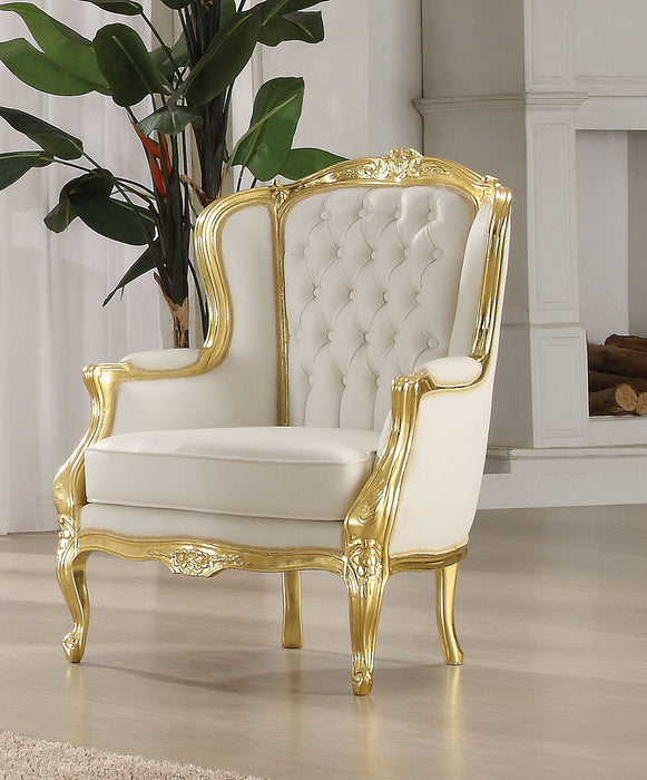 Kassim Gold Frame & White PU Accent Chair
