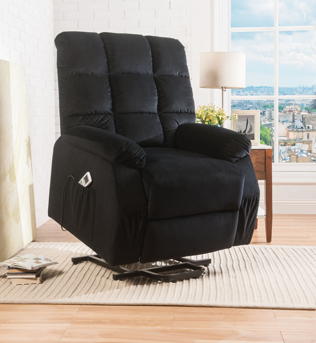 Ipompea Black Velvet Recliner w/Power Lift & Massage