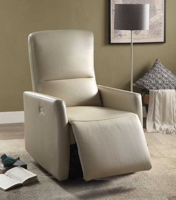 Raff Beige Leather-Aire Recliner (Power Motion)