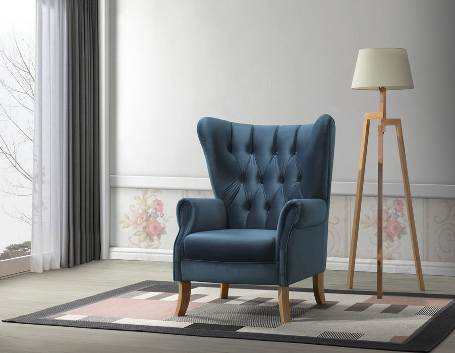 Adonis Azure Blue Velvet Accent Chair