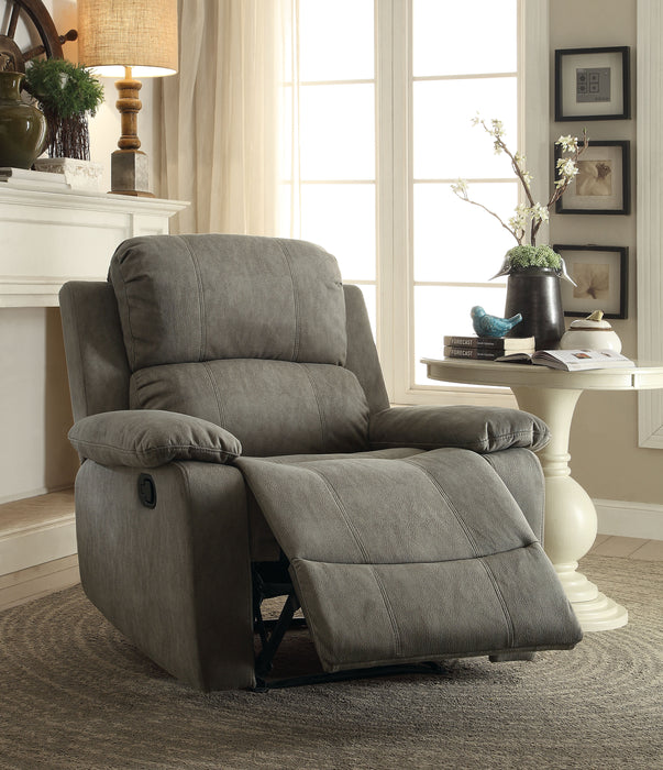 Bina Gray Polished Microfiber Recliner (Motion)