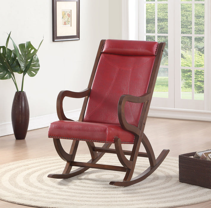 Triton Burgundy PU & Walnut Rocking Chair