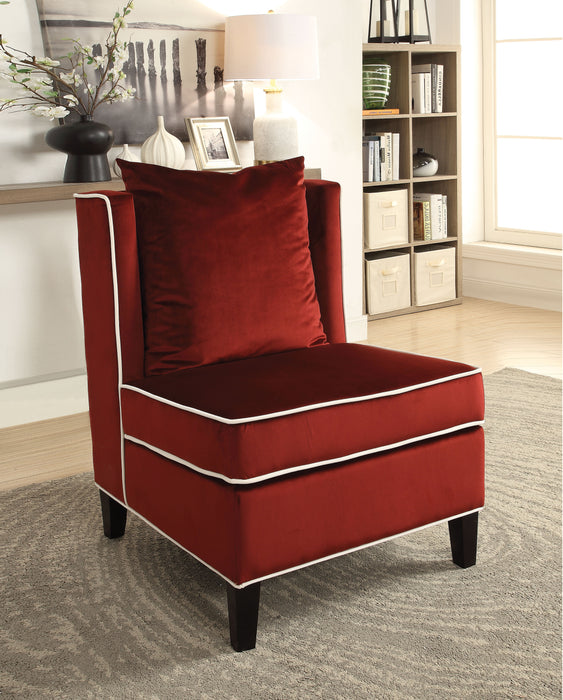 Ozella Red Velvet Accent Chair