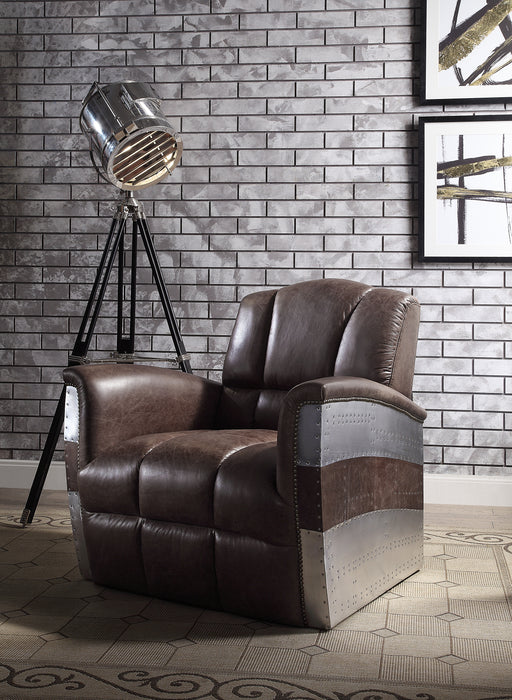 Brancaster Retro Brown Top Grain Leather & Aluminum Accent Chair