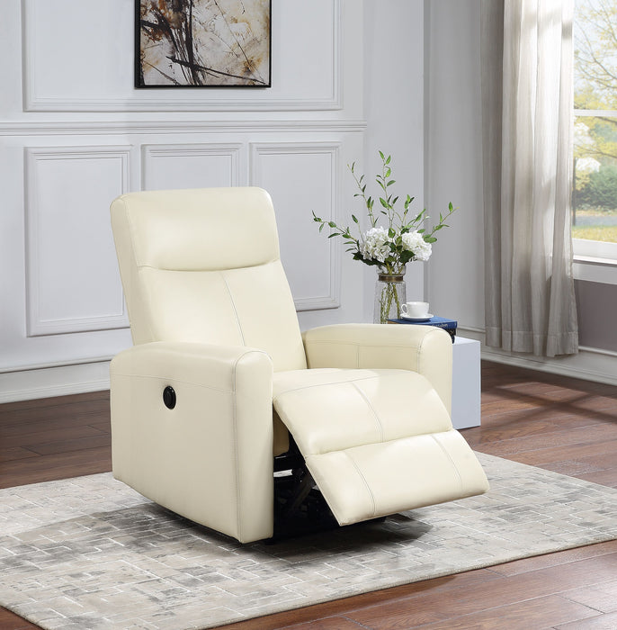 Blane Beige Top Grain Leather Match Recliner (Power Motion)