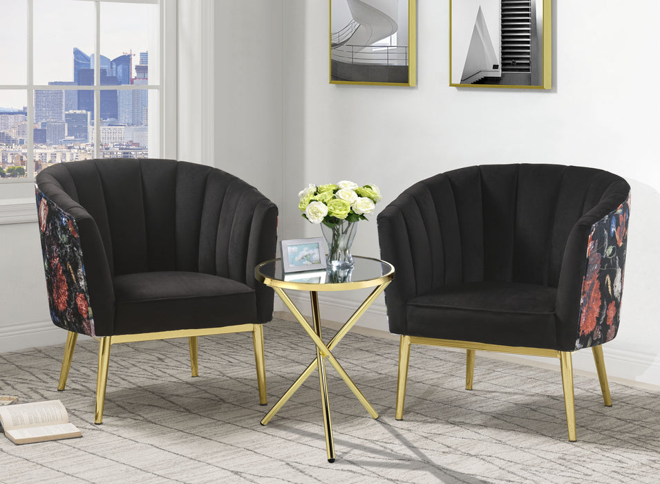 Colla Black Velvet & Gold Accent Chair