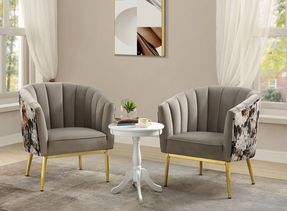 Colla Gray Velvet & Gold Accent Chair