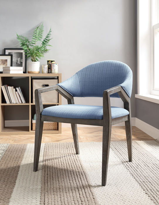 Aucilla Blue Linen Accent Chair