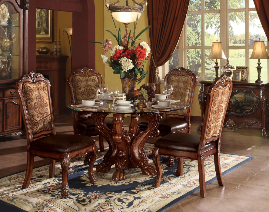 Dresden Cherry Oak & Clear Glass Dining Table