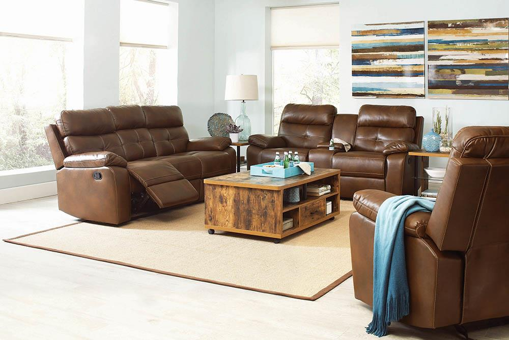 Damiano Brown Faux Leather Reclining Loveseat image