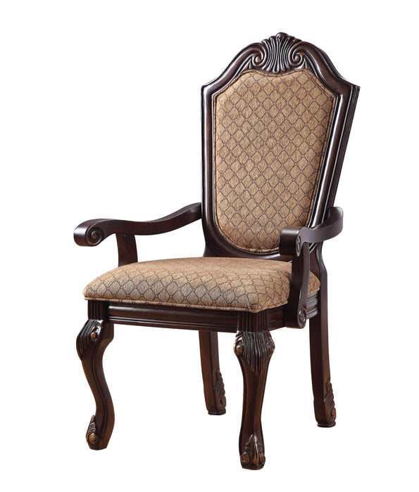 Chateau De Ville Fabric & Espresso Arm Chair