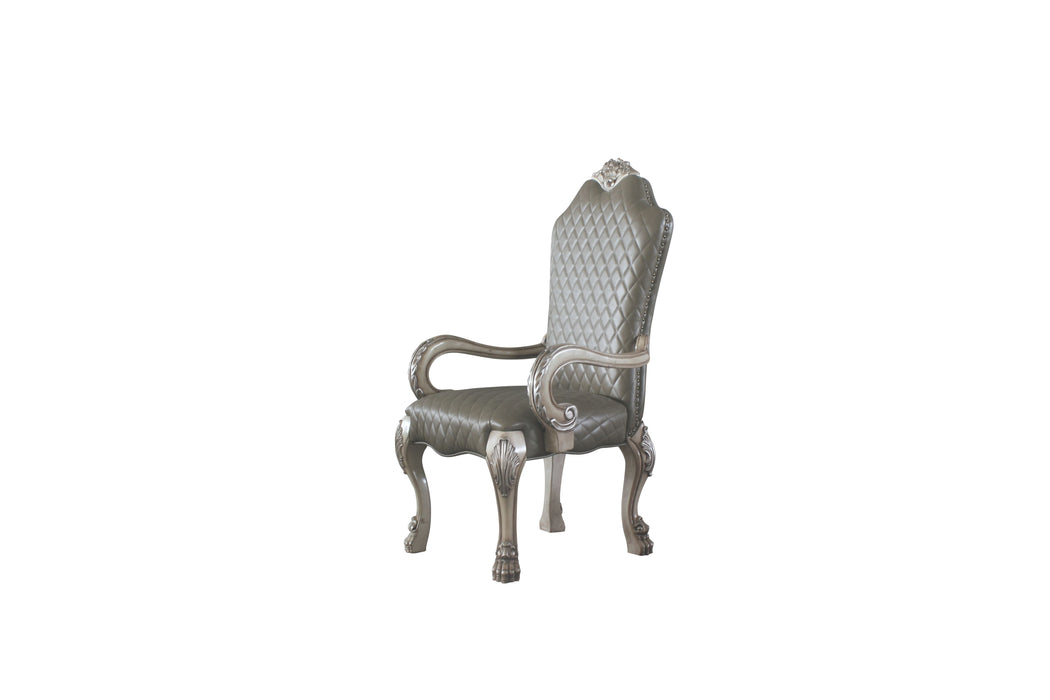 Dresden Vintage Bone White & PU Arm Chair