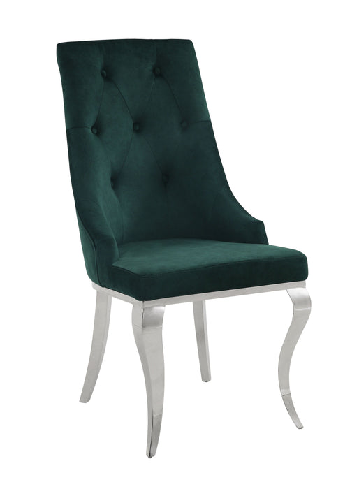 Dekel Green Fabric & Stainless Steel Side Chair