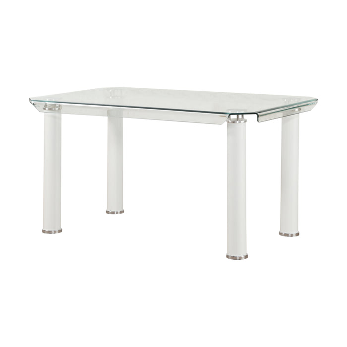 Gordie White & Clear Glass Dining Table