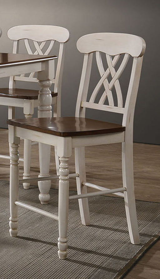 Acme Furniture Dylan Counter Chair in Buttermilk and Oak (Set of 2) 70432 image