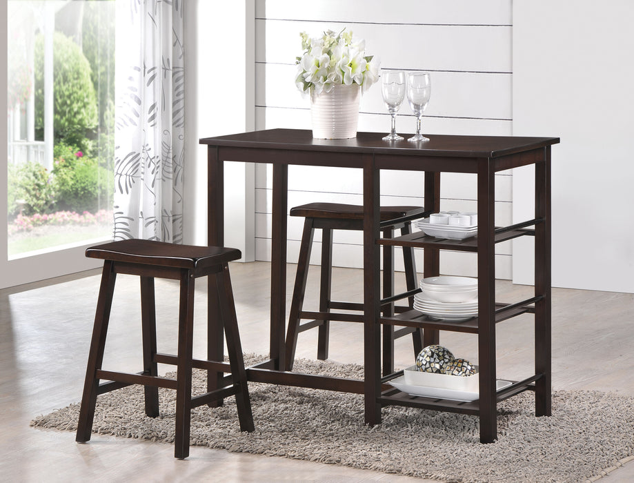 Nyssa Walnut Counter Height Set (3Pc Pk)