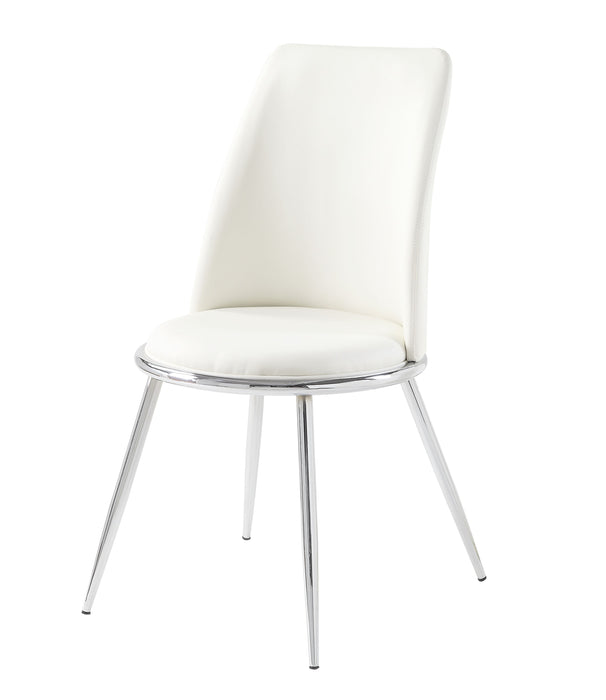 Weizor White PU & Chrome Side Chair