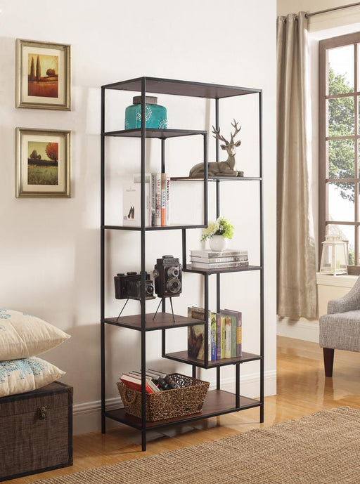 Industrial Walnut and Black Bookcase image