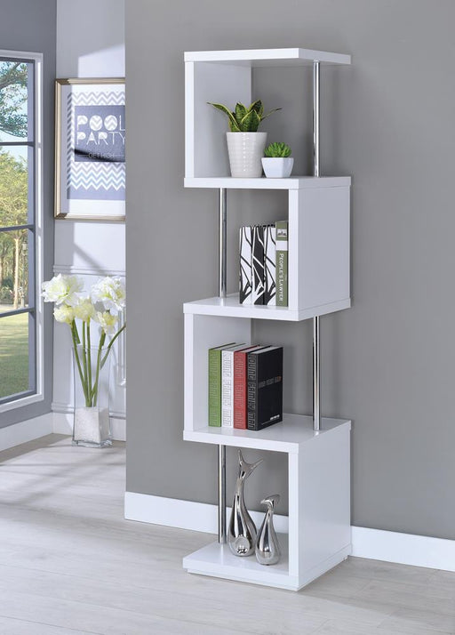 Modern White Four-Tier Bookcase image