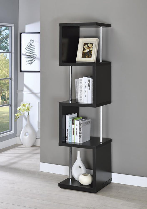 Modern Black Four-Tier Bookcase image