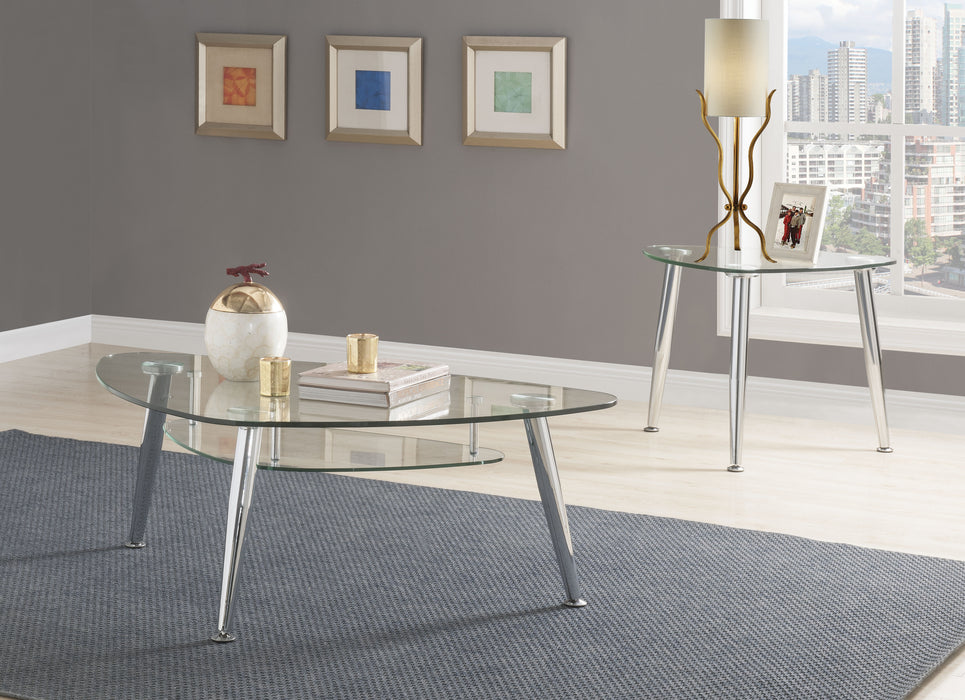 Phlox Chrome & Clear Glass Coffee Table