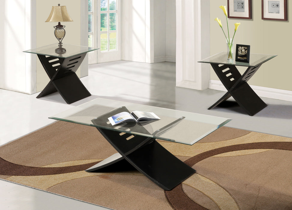 Elhan Black & Clear Glass Coffee/End Table Set (3Pc)