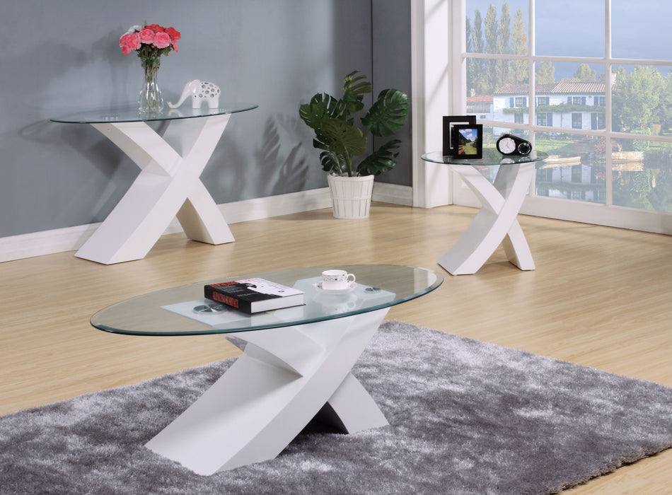 Pervis White & Clear Glass Coffee Table