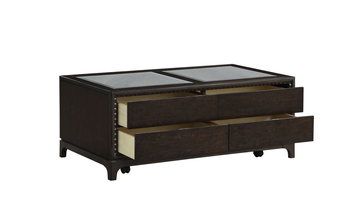 Adelynn Mirrored & Espresso Coffee Table