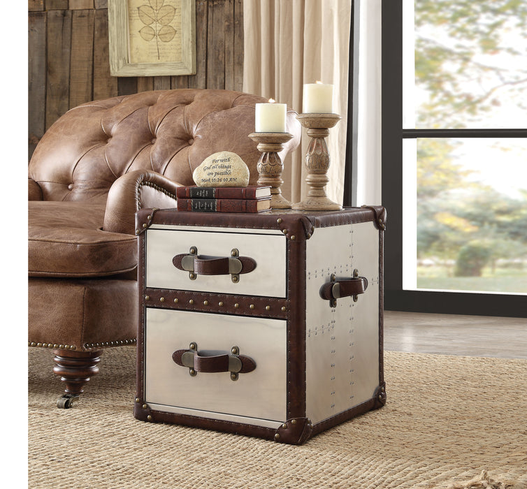 Aberdeen Vintage Dark Brown Top Grain Leather & Aluminum End Table