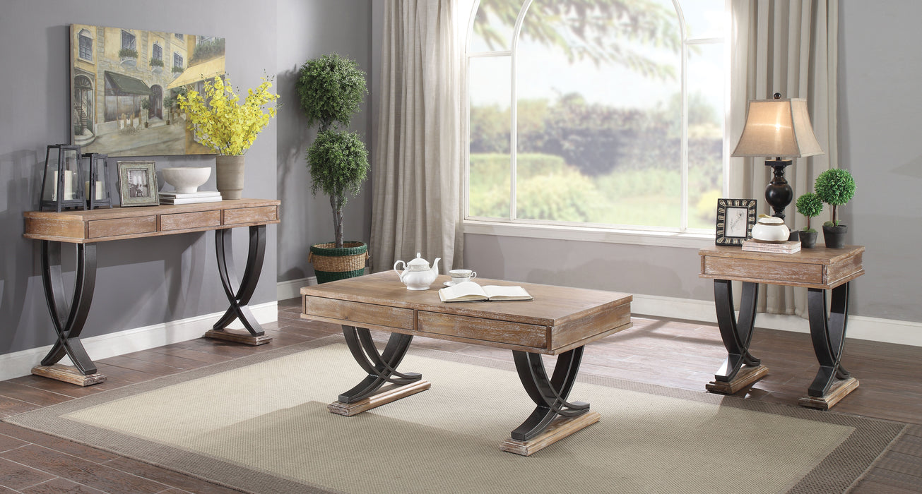 Pellio Antique Oak & Black Coffee Table